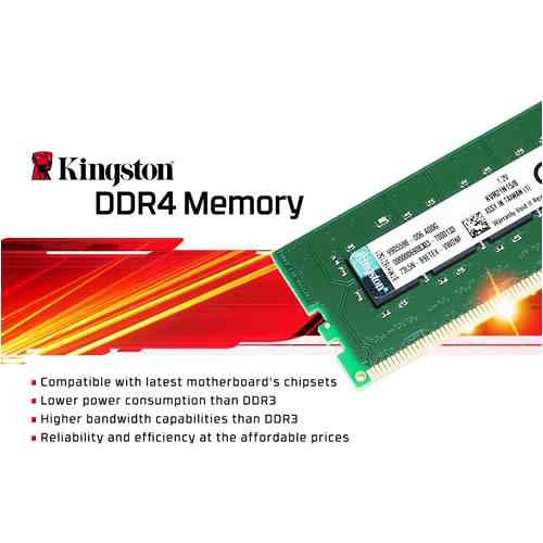 KINGSTON 8GB 2666MHz DDR4 CL19 1.2V KVR26N19S8-8 PC RAM